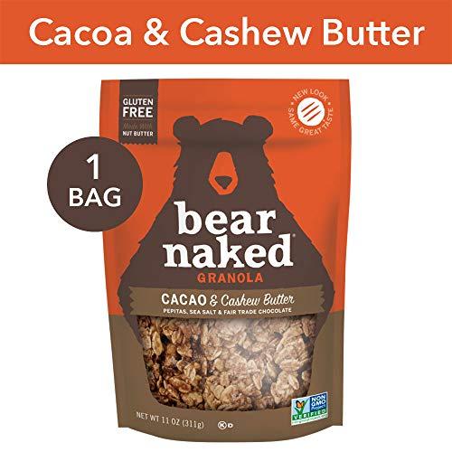 Bear Naked Cacao & Cashew Butter Granola - Gluten Free   Non-GMO   Kosher   Vegan - 11 Oz