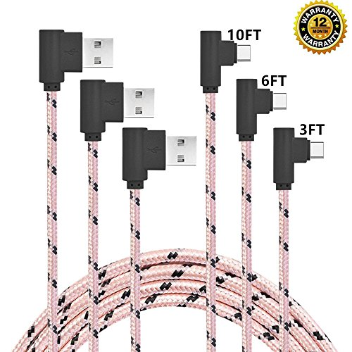 CTREEY Right Angle USB C Cable, 3 Pack (3ft 6ft 10ft) 90 Degree Type C Cable, Type C Fast Charging Cord for Samsung Galaxy S8 S9 Plus Note 8 9,LG V20 G6 G5,Google Pixel 3 XL,Nexus 6P 5X (Pink/Black?