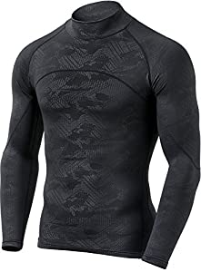 CQ-HUT302-CHC_X-Large CQR Men's Thermal Wintergear Compression Baselayer Mock Long Sleeve Shirt HUT302