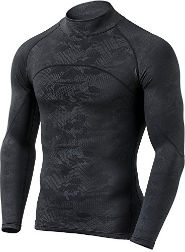 Golf Performance Mock Shirt - CQR CQ-HUT302-CHC_Large Men's Thermal WinterGear Compression Baselayer Mock Long Sleeve Shirt HUT302