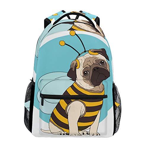 Custom Fashion Causal Funnly Pug Costume Bee Prints Backpacks Girls Boys School Bags Shoulders Bag Travel Daypack