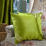 """Olive Green - Set of 2 Decorative handcrafted Sari Cushion Cover, Throw Pillow Case 24"""" X 24"""""""