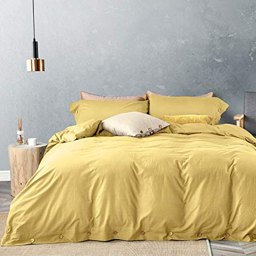 JELLYMONI 100% Washed Cotton Duvet Cover Set Queen Size, Luxury Soft Bedding Set with Button Closure. Solid Color Pattern Duvet Cover(No Comforter) (Yellow, Queen, 3Pcs)
