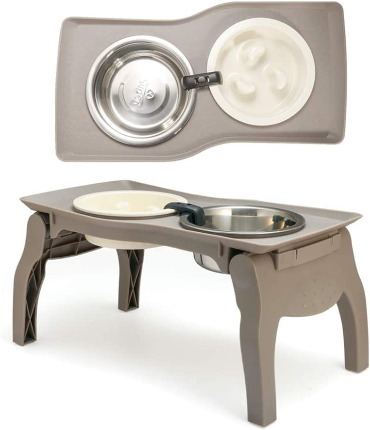 Elevated Pet Bowl Stand for Medium Dogs with Slow Feeder Bowl Premium Foldable Stand Dog Food Water Feeding Bowl, Detachable Anti-Slip Mats Non Skidding No Spill for Indoor & Outdoor (Two Bowl)