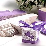 Juego de boda corazón de confeti Placeholder regalo con lazo de acuosa