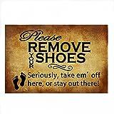 Burning Love Short Plush Material Retro Please Remove Your Shoes Printed Doormat, Non-slip Doormats, Size40X60CM.