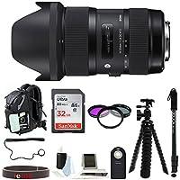 Sigma 210306 18-35 F/1.8 DC HSM Art Lens for Nikon DSLR Cameras with Backpack Accessory Bundle
