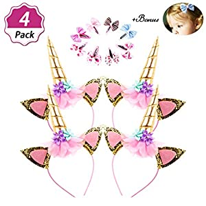 DaisyFormals Unicorn Headband 4 Pack Shining Gold Glitter Flowers Ears Headbands for Party Decoration or Cosplay Costume, Free Bonus- 8 PCS Hair Clips
