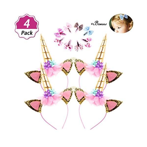 DaisyFormals Unicorn Headband Set(8 Pack)Shiny Gold Glitter Flowers Ears Headbands for Girls Adults Birthday Halloween… 3