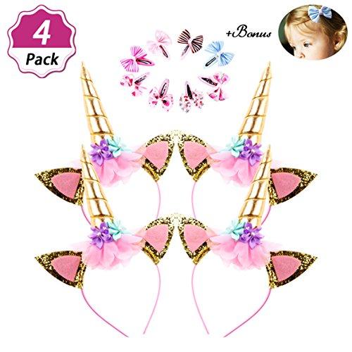 - DaisyFormals Unicorn Headband 4 Packs Unicorn Party Supplies +8 PCS Hair Clips