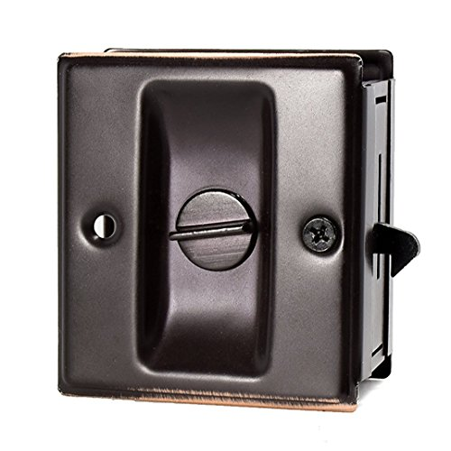 Privacy Sliding Door Lock With Pull Oil Rubbed Brass- Replace Old Or Damaged Pocket Door Locks Quickly And Easily, 2-3/4