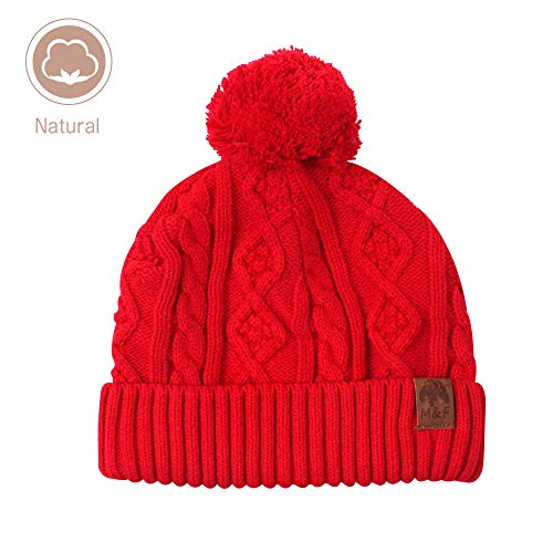 Kids Red Beanie (XIAOHAWNG Baby Hat Boys Girls Winter Cotton Lined Toddler Kids Knit Caps Warm Cute Pom Pom Beanie for Infant Baby (Red, M(1-3 Years)))