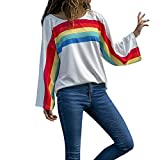 vermers Clearance Womens Fashion Rainbow Stripes Print Sweatshirt - Women Casual O-Neck Long Sleeve T Shirt Tops Blouse(M, White)