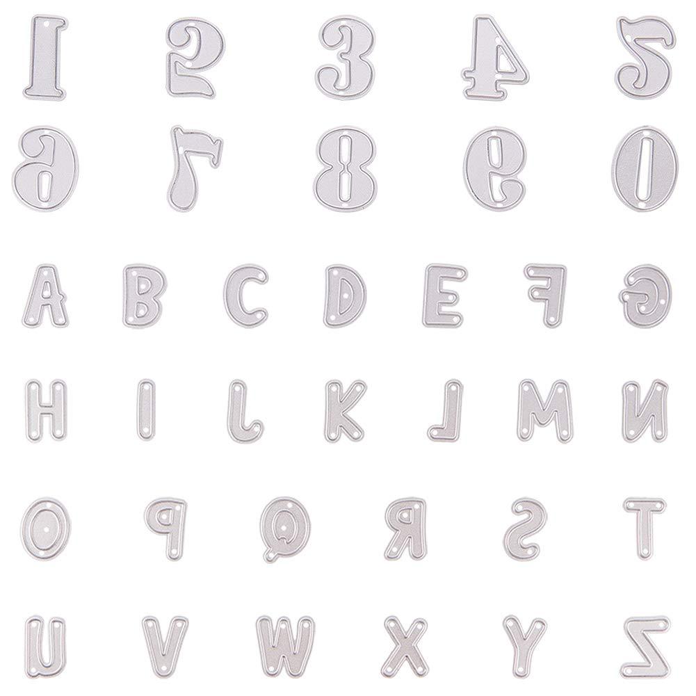 NBEADS 36pcs Lettera dell' Alfabeto A-Z Fustelle in Metallo, per Fai da Te Scrapbooking Album Fotografico goffratura di Carta Decor Artigianato Regali creativi