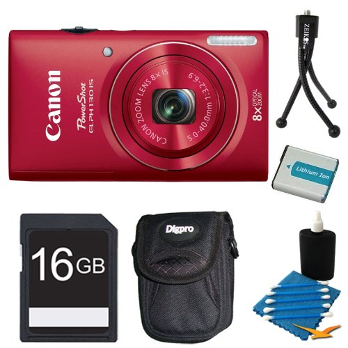 Canon PowerShot ELPH 130 IS Red 16MP Digital Camera 16GB Bundle - Includes camera, 16GB Secure Digital SD Memory Card, Ultra-Compact Digital Camera Deluxe Carrying Case, NB-11L Replacement Battery, Flexible Mini Table-top Tripod, and Cleaning Kit