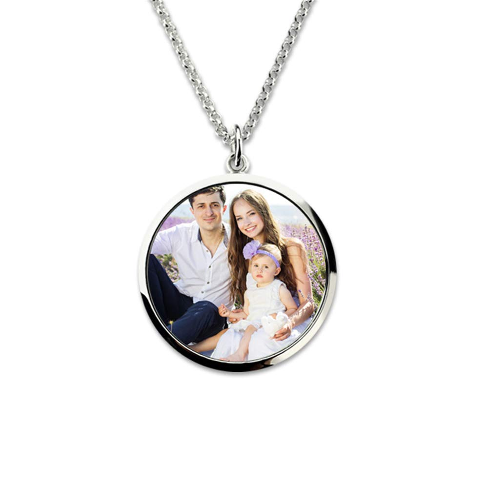 Jumping Birthstone 925 Sterling Silver Engraved Personalized Photo Name Custom Pendant Necklaces for Family Lovers Jewelry