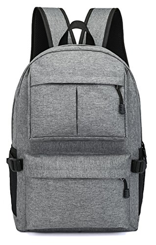 Veenajo 15 15.6 Inch Laptop Backpack College Backpack with USB Charging Port Light Weight Travel Backpack for Men Women(Grey) Traveler Notebook Case Top Loading