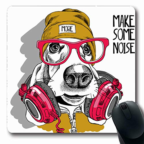 Ahawoso Mousepads for Computers Glasses Hipster Basset Hound