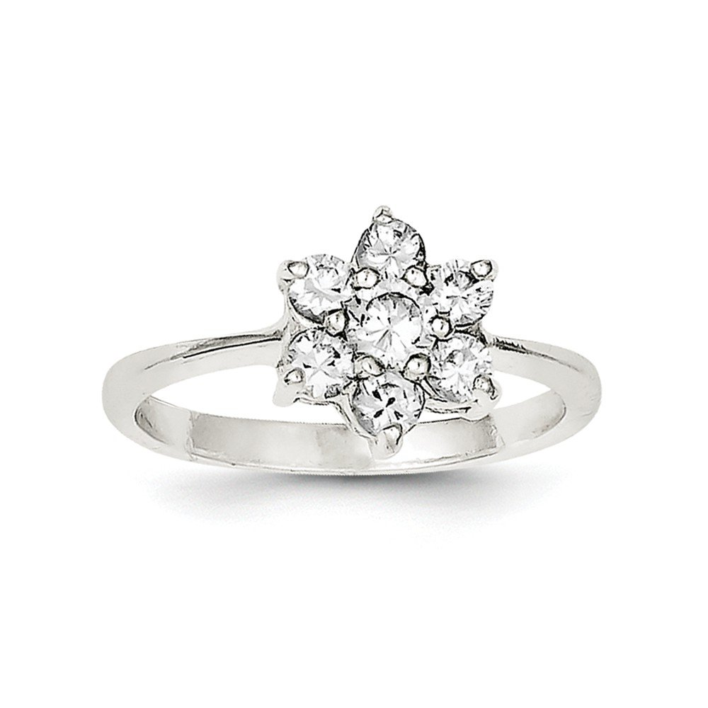 Top 10 Jewelry Gift Sterling Silver CZ Flower Ring
