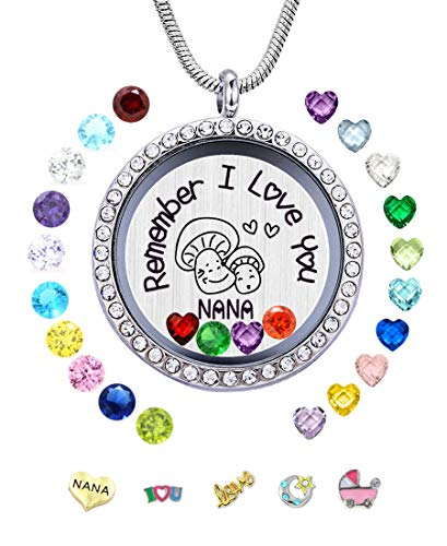 Remember I Love You Nana Floating Heart Birthstone Locket
