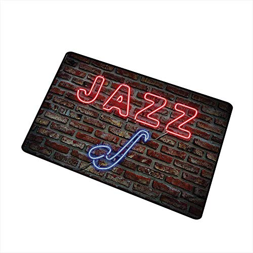(Axbkl Outdoor Doormat Jazz Music Decor Image of Bright Neon All Jazz Sign with Saxophone On Brick Wall Print Design Decor W30 xL39 Non-Slip Backing Red Blue)
