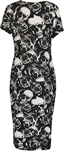 des robe Tailles Robes manches Femmes WearAll 56 Crane Grande imprim 42 Roses taille midi courts motif cUYwRS