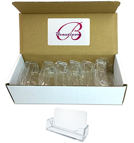 Beauticom (Style # 3) Acrylic Clear Plastic Business Card Holder Display Desktop Countertop (10 Pieces)