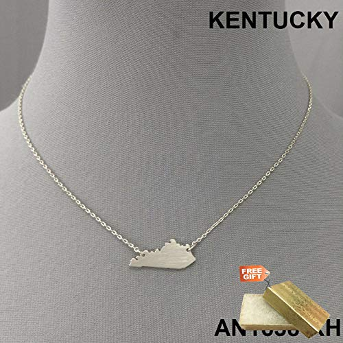 Simple Unique Silver Finish Kentucky State Shape Charm Design Dainty Necklace Set For Women + Gold Cotton Filled Gift Box for Free