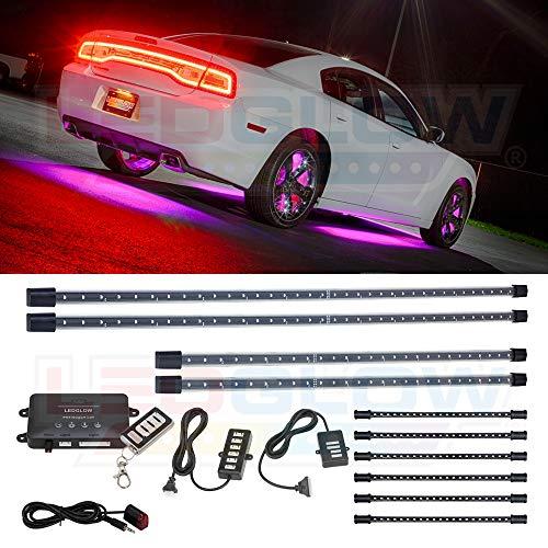 LEDGlow 10pc Pink Wireless LED Car Lighting Kit – 4 Underbody Underglow Tubes + 6 Interior Under Dash Tubes