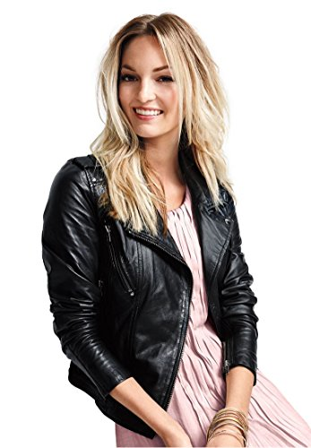 Ellos Women's Plus Size Faux Leather Moto Jacket Black,30