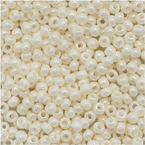 Toho Round Seed Beads 11/0 #122 'Opaque Lustered Navajo White' 8 Gram Tube 11/0 Toho Seed Beads