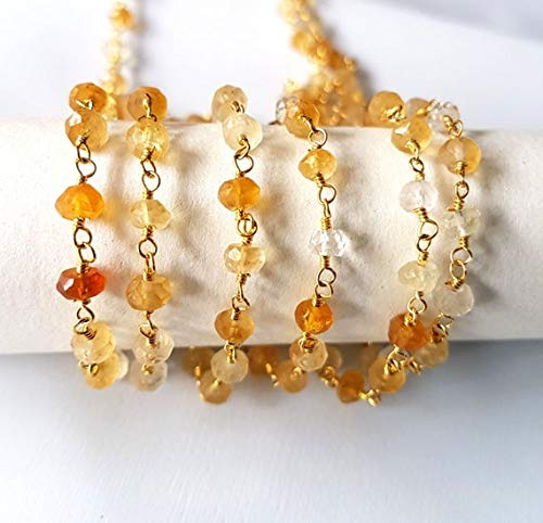 1 Feet Beaded chain Natural CITRINE faceted beads chain rosary style chain,bead size 4 mm Approx wire wrapped chain