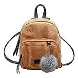 Shoulder Bags, Backpacks for Woman Girl Vintage Corduroy Travel School Bag Cute Striped Pompon Backpack (Khaki)
