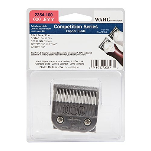 (Wahl Professional Competition Series 000 .8mm Clipper Blade - 2354-100 - Fits 5 Star Rapid Fire, Sterling Stinger, Oster 76 and Titan, and Andis BG Clippers.)