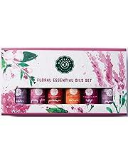 Woolzies Essential oil gift set of 6 most popular essential oils (Floral Set of 6 Lavender Rose Jasmine Yang Ylang Geranium Neroli)