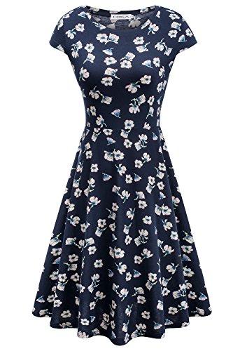 HIKA Women's Casual Elegant A Line Short Cap Sleeve Round Neck Dress (X-Large, Floral-4)