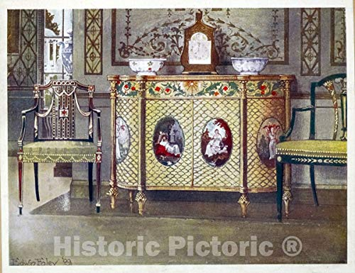 Historic Pictoric 1910 Print | Painted commode and chairs. Property of his grace the Duke of Norfolk, Arundel C | Vintage Wall Art | 44in x 36in