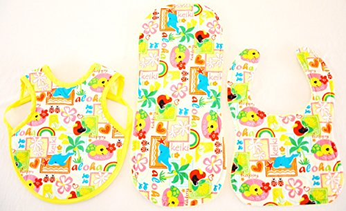 Hawaiian Bib Set (Bib, Bapron and Burp Cloth) - Keiki (L) by Baby Jolie's Closet