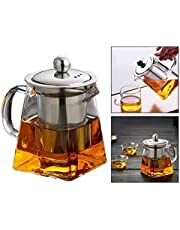 OFKPO Square Glass Teapot Heat Resistant Bottle Cup with Infuser Perfect for Tea and Coffee (350ml)