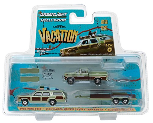 GreenLight 1:64 Hollywood Hitch & Tow Series 4-National Lampoon's Vacation (1983) -1972 Ford F-100 with 1979 Family Truckster Wagon Queen on Flatbed Trailer (31040-a) Die-Cast Vehicle, Multicolor 1972 Ford Station Wagon