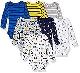 Carter's Baby 7 Pack Long Sleeve Bodysuits, construction/sports, Newborn