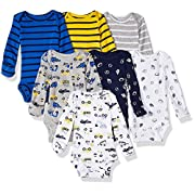 Carter's Baby 7 Pack Long Sleeve Bodysuits, Construction/Sports, Newborn