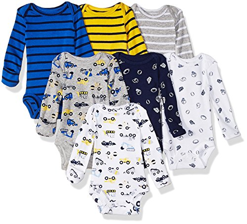 Cuffed Mittens - Carter's Baby 7 Pack Long Sleeve Bodysuits, construction/sports, Newborn