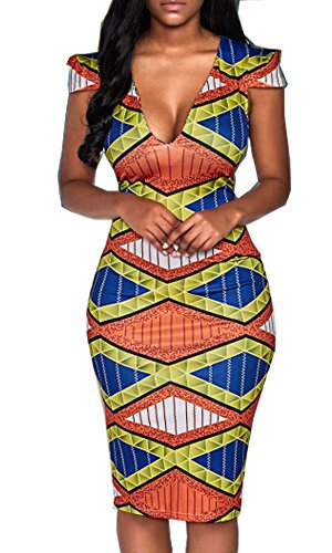 YOMISOY Women Short Sleeve V Neck Bodycon African Print Party Dashiki Dress Clothing