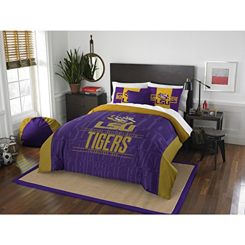 3 Piece LSU Tigers Comforter Set Full/Queen Size, Team Logo Print Unisex Sports Fan College Dorm Bedding, Louisiana State University American Football Fandom, Sport Lover Athletic Motif, Purple, Gold