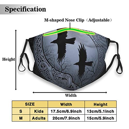 Protective Dust Mask, Activated Carbon Filter Mask, Odin's Ravens Dustproof Safety Mask for Adults Kids