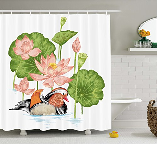 Ambesonne Duck Shower Curtain Set, Baby Mandarin Duckling in Pond with Lotus Lily Flowers Water Painting Style Arsty Print, Fabric Bathroom Decor with Hooks, 70 Inches, White Green - Pond Lily Collection