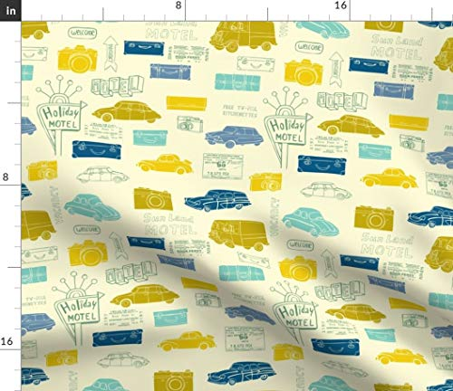 Spoonflower Retro Road Trip Fabric - Vintage Travel Car Motel Hotel Cars Auto Wanderlust Ticket Camera Print on Fabric by The Yard - Denim for Sewing Bottomweight Apparel Home Decor Upholstery