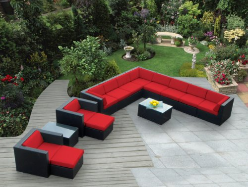 Ohana 14-Piece Outdoor Wicker Patio Furniture Sectional Conversation Set with Weather Resistant Cushions, Red (PN1401R)