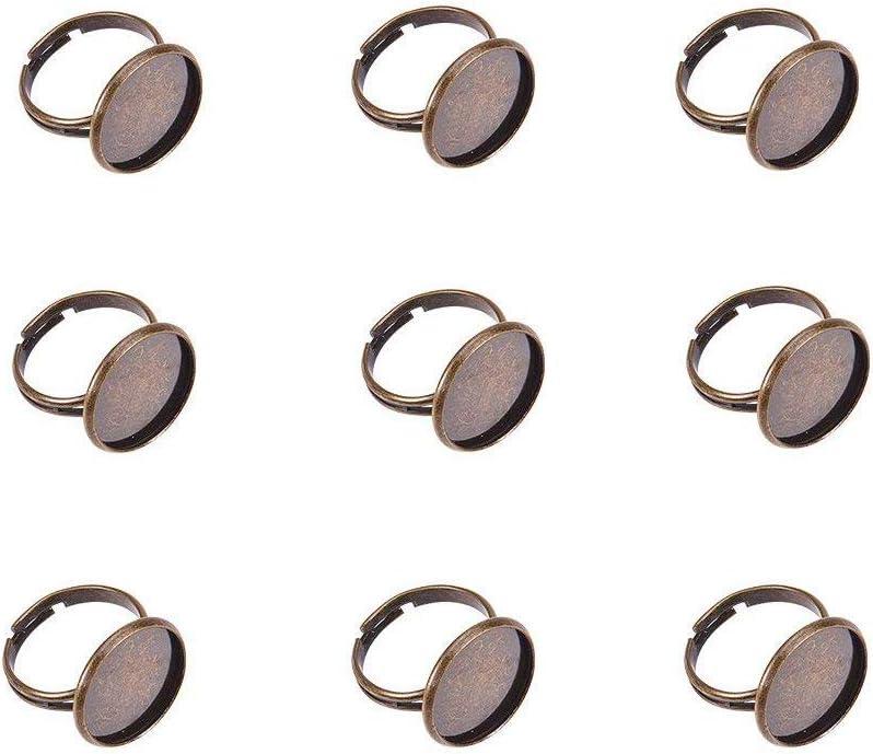PandaHall -Juego de 5 uds para montaje de anillo ajustable, bandeja ovalada con encaje para cabujón, anillo de latón y bandeja en aleación, color bronce antiguo, sin níquel, bandeja: 25x 18mm; 18m
